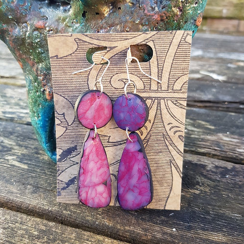 Pink Marble Large Drop Earrings ..