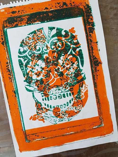Orange with Green Sugar Skull Limited Edition Print