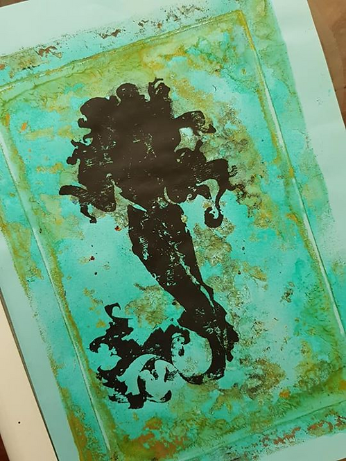 Blue, Green with Black Mermaid Limited Edition Print
