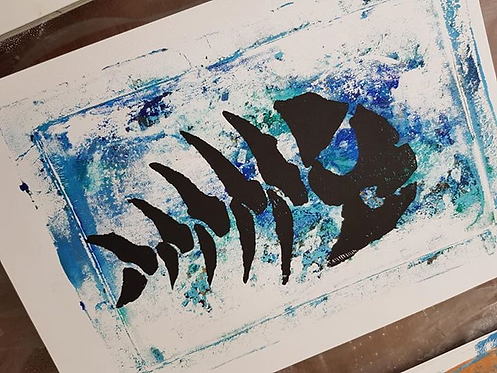 Blue with Black Fish Skeleton Limited Edition Print