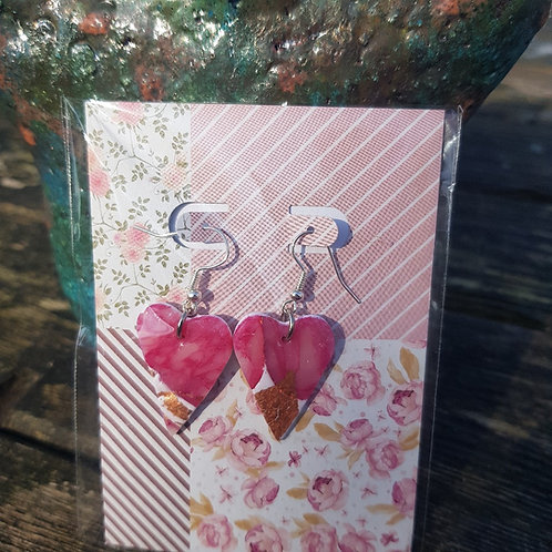 Pink Marble with Gold Leaf Heart Earrings ..
