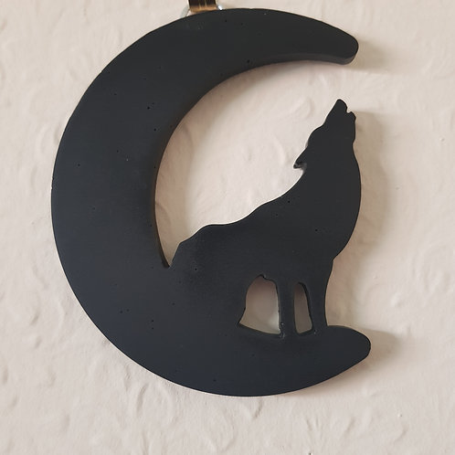 Black Jesmonate Howling Wolf at the Moon Wall Art