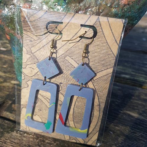 Grey & Yellow Terrazzo Style Drop Earrings ..