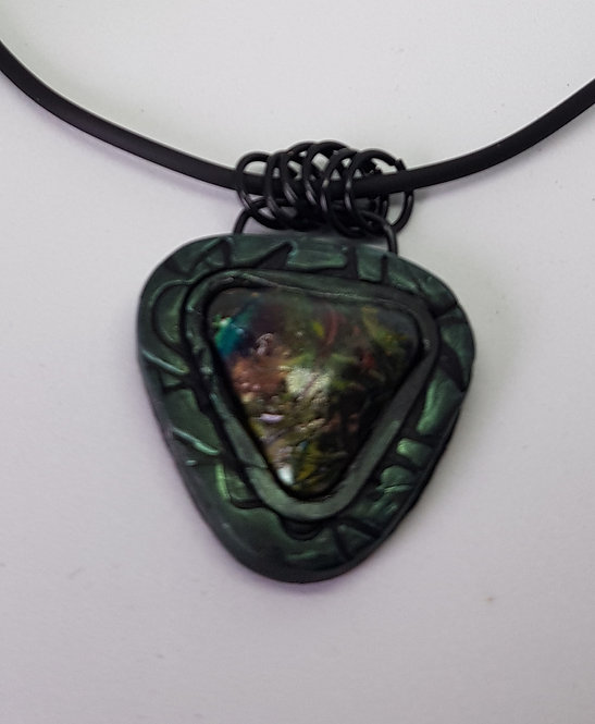 Medium Triangle Baby Dragons Scales Pendant .. No.33 ..