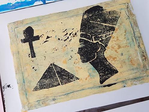 Stone, Gold & Black Pyramid Ankh & Head Limited Edition Print