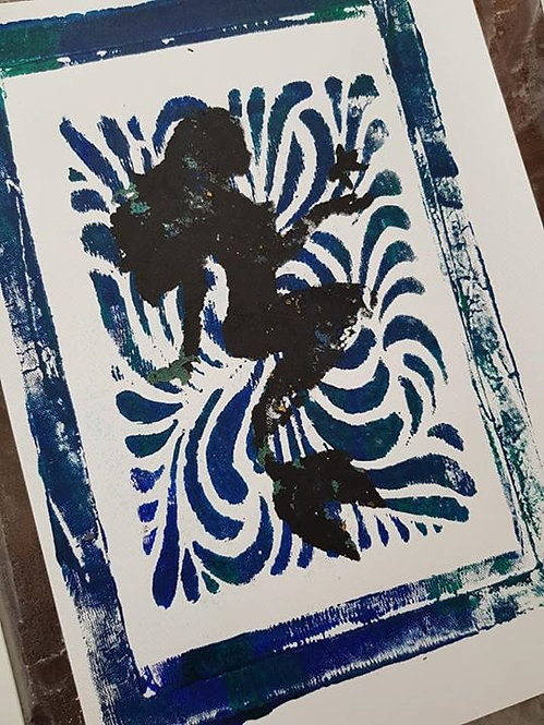 Blue with Black Mermaid Limited Edition Print