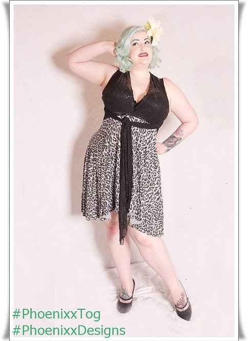 Plus Size Grey Leopard Print Fabric Multiway Dress ..