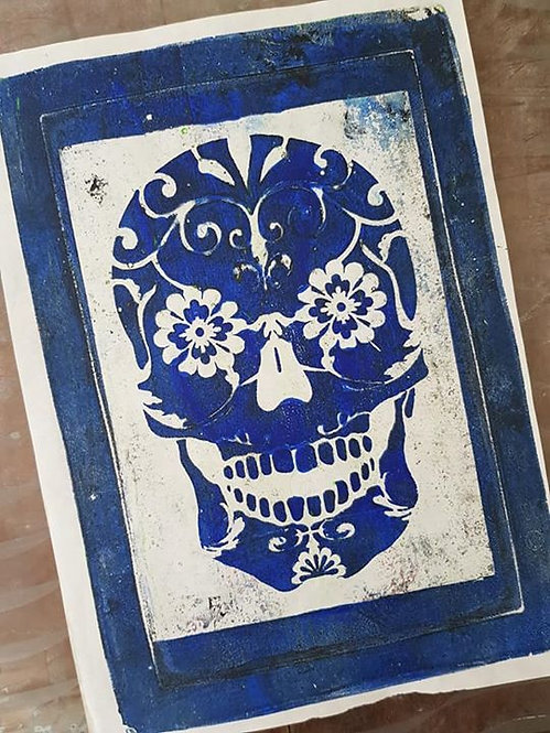 Blue Sugar Skull Limited Edition Print