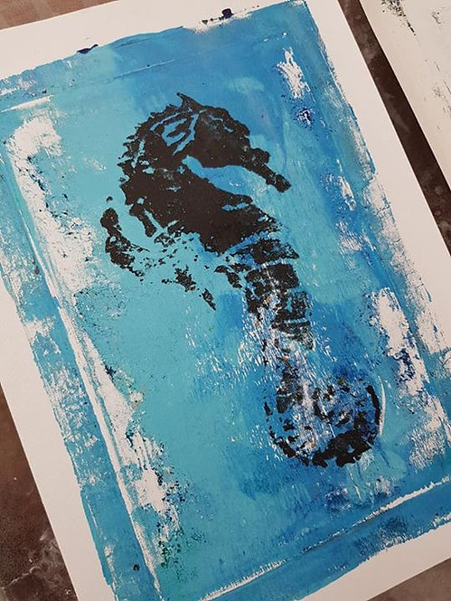 Blue with Black Seahorse Limited Edition Print