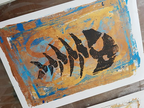Gold with Black Fish Skeleton Limited Edition Print