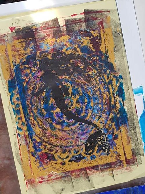 Deep Blue Mandala with Black Mermaid Limited Edition Print