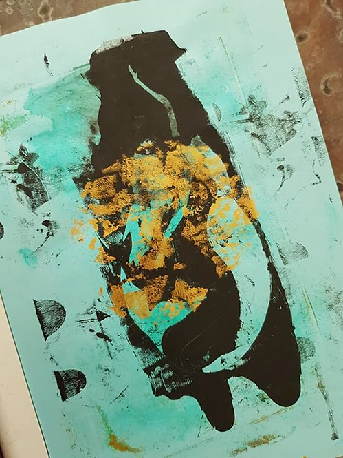 Turquoise, Gold & Black Mermaid Limited Edition Print