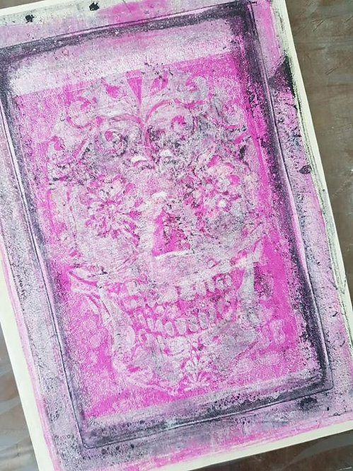 Blue with Pink Sugar Skull Limited Edition Print