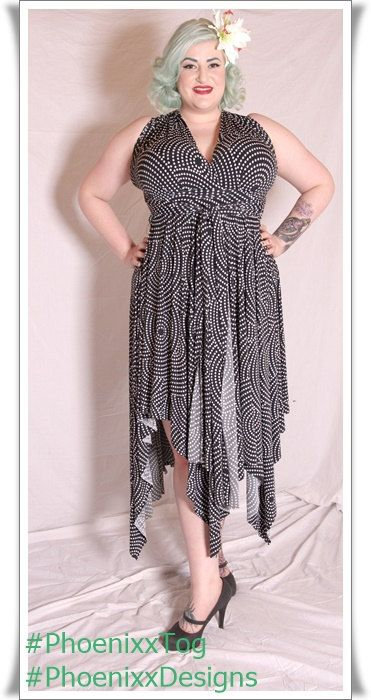 Plus Size Black & White dotted Print Fabric Multiway Dress