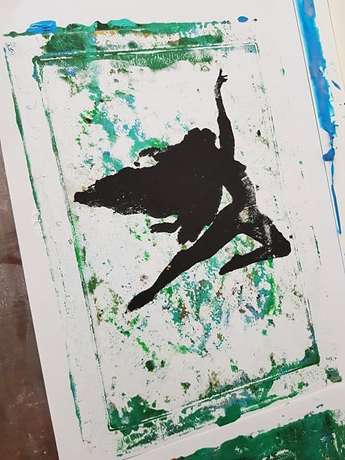 Green with Black Flying Fairy Limited Edition Print