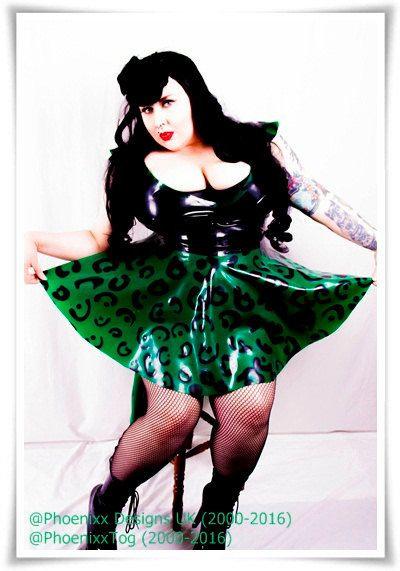 Plus Size Latex Green Leopard Print Phoenixx Dress