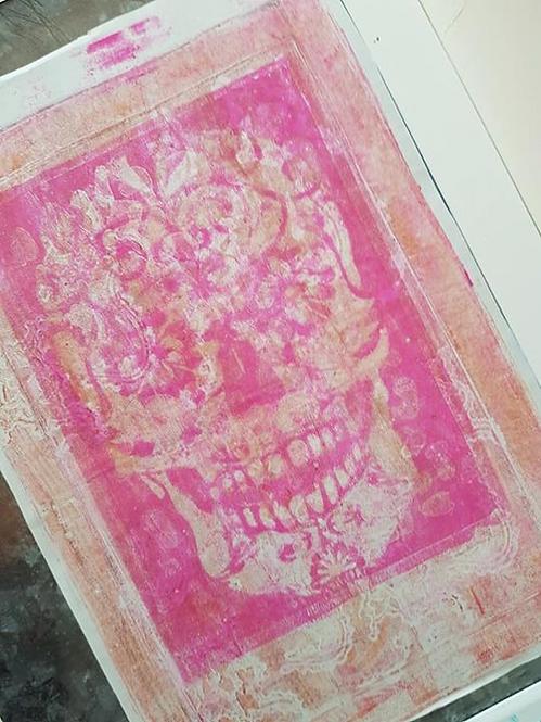 Pink & Bronze Sugar Skull Limited Edition Print