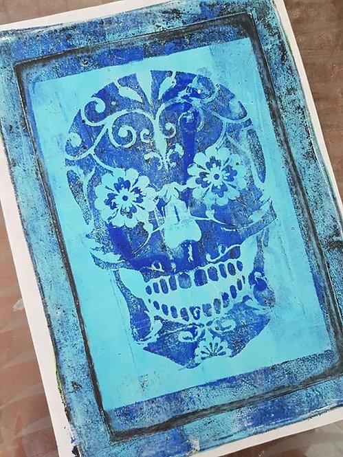 Blue on Blue Sugar Skull Limited Edition Print
