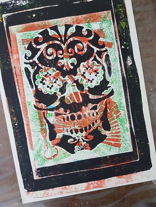 Orange with Black Sugar Skull Limited Edition Print