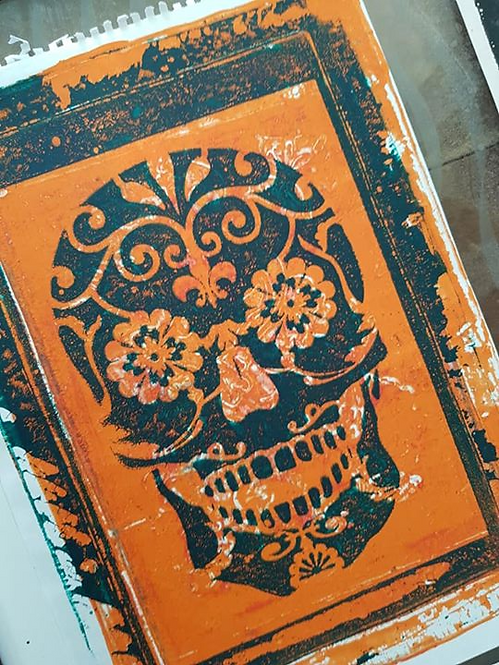 Orange & Black Sugar Skull Limited Edition Print