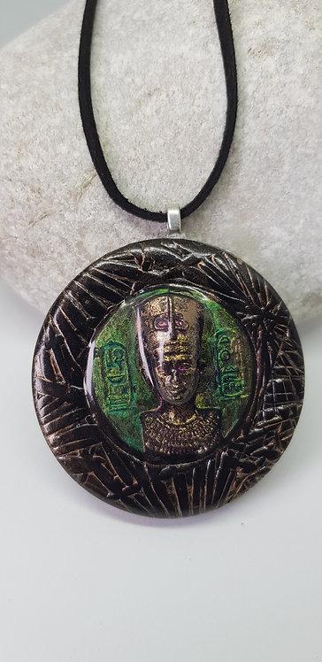 3D Large King Tut Circular Bezel Pendant .. No. 193 ..