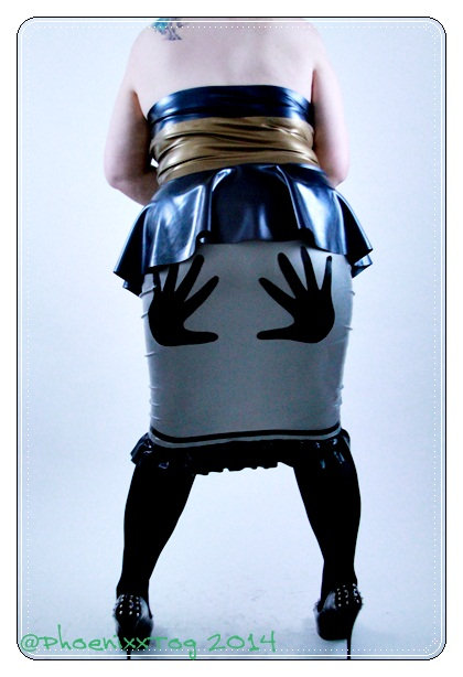 Plus Size Latex *Handslapped* Wiggle Skirt .. SS2013