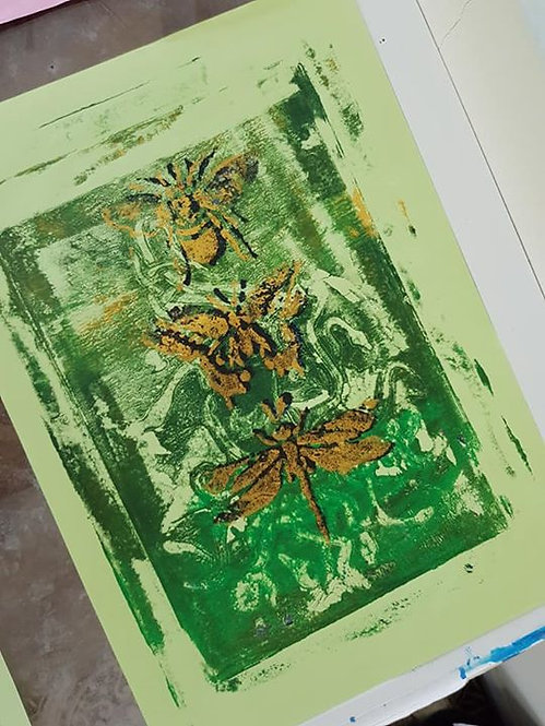 Green with Gold Bee Butterfly & Dragonfly Limited Edition Print