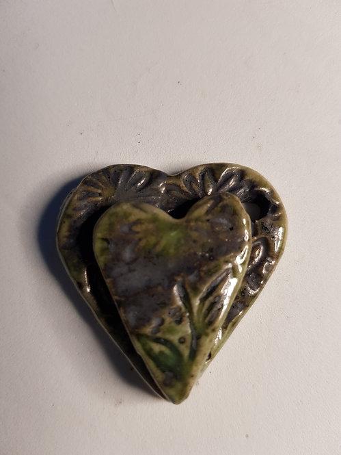 Medium double heart Porcelain Pendant