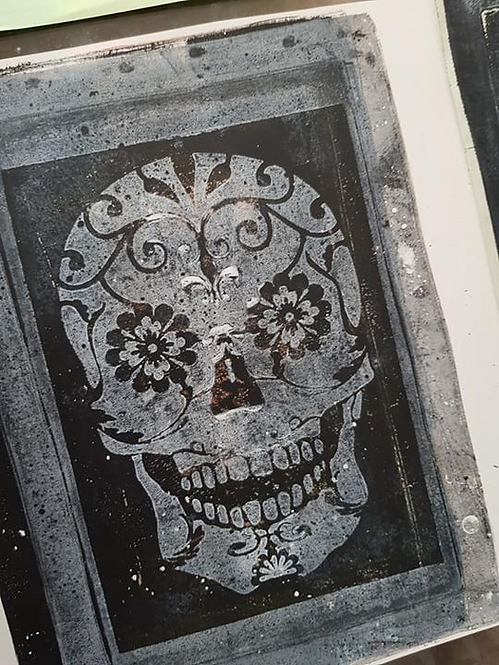 Black with White Sugar Skull Limited Edition Print