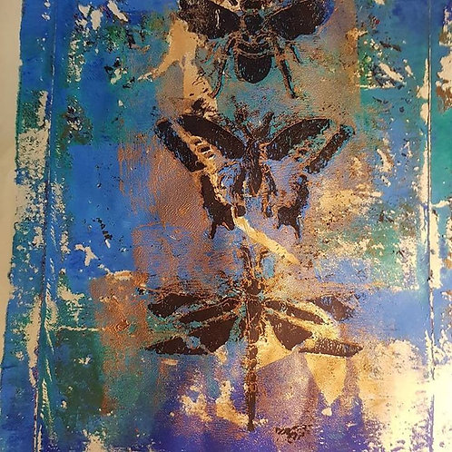 Blue and Gold with Black Bee Butterfly Dragonfly Limited Edition Print