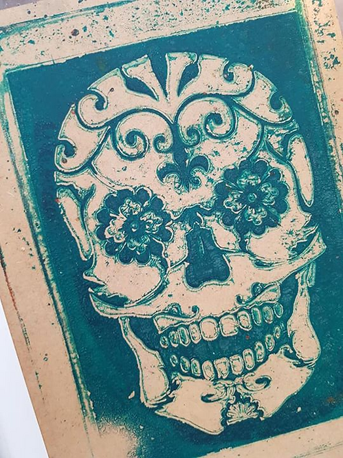 Green Sugar Skull Limited Edition Print