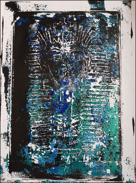 Black & Blue Ancient Egyptian Mummy Limited Edition Print ..