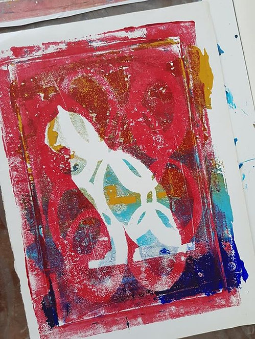 Red &n Blue Egyptian Cat Limited Edition Print