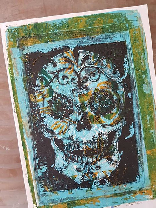 Blue & Green with Black Sugar Skull Limited Edition Print