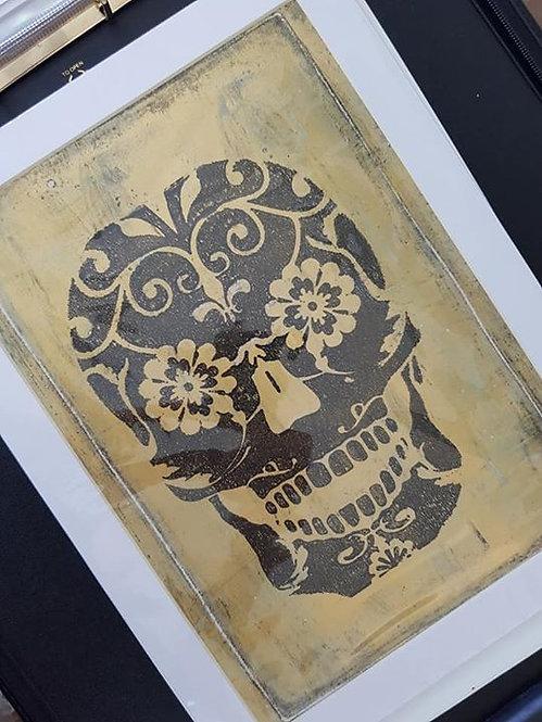 Goldn with Black Sugar Skull Limited Edition Print