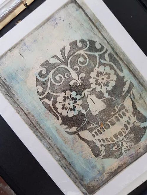 Light Blule with Black Sugar Skull Limited Edition Print