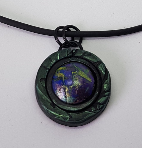 Small Circle Baby Dragons Scales Pendant .. No.37 ..