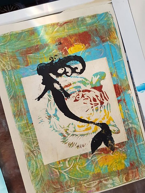 Multi coloured with Black Mermaid Limited Edition Print