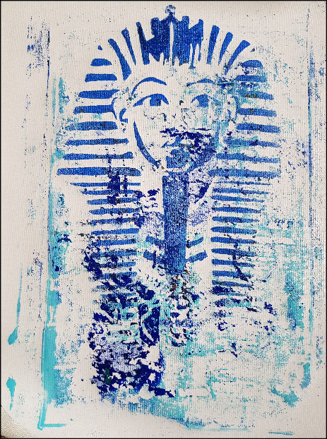 Blue Egyptian Monoprint
