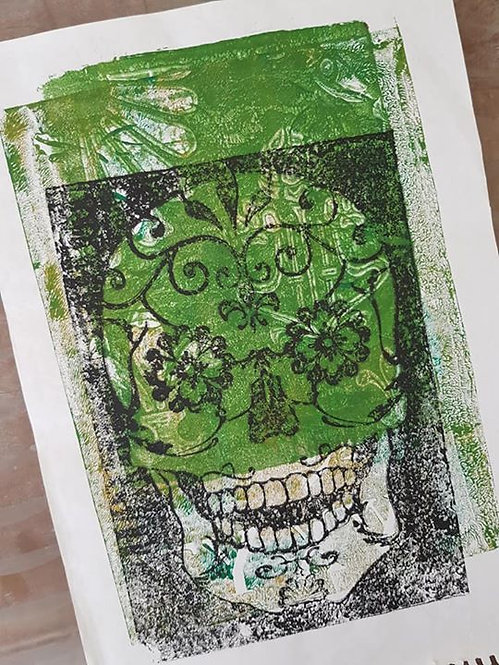 Green with Black Sugar Skull Limited Edition Print