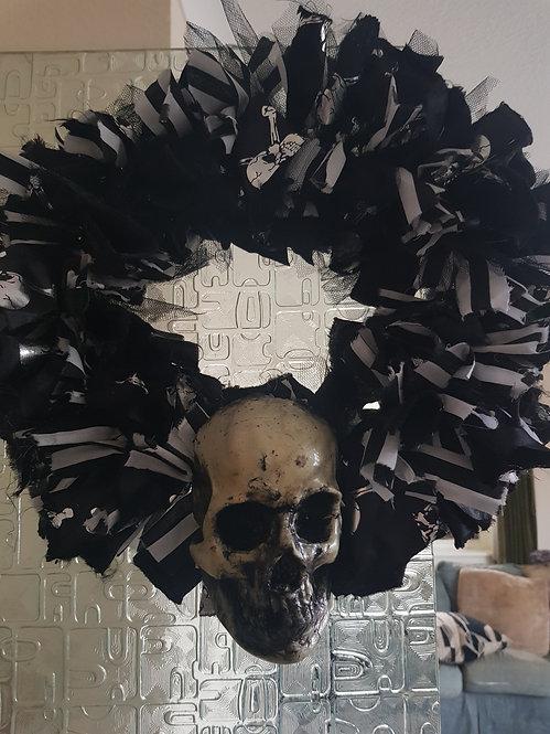 Beetlejuice themed with Skull Door Wreath