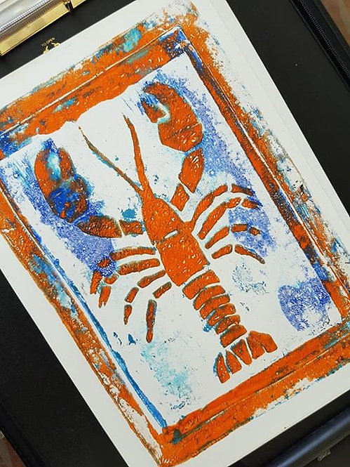 Blue with Orange Lobster Limited Edition Print