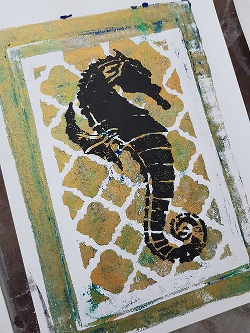 Gold with Black Seahorse Limited Edition Print