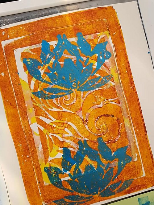 Orange with Blue Lotus Flowers Limited Edition Print