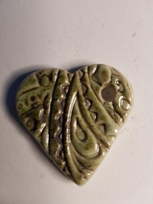 Small Floral Heart Porcelain Pendant