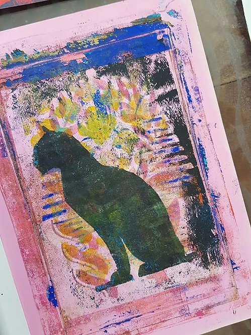 Multi coloured Black Egyptian Cat Limited Edition Print