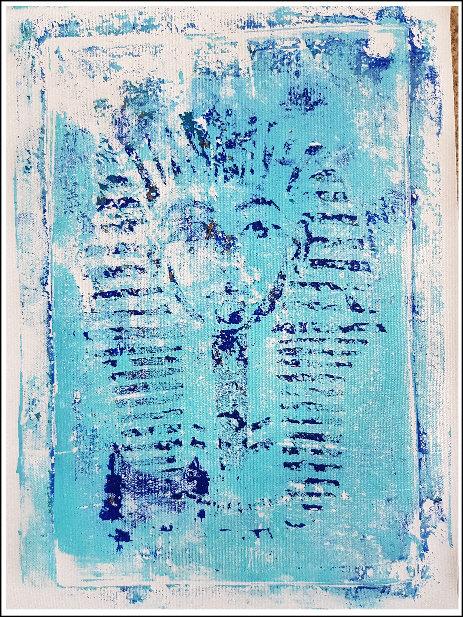 Dark Blue Ancient Egyptian Mummy Mask Limited Edition Print