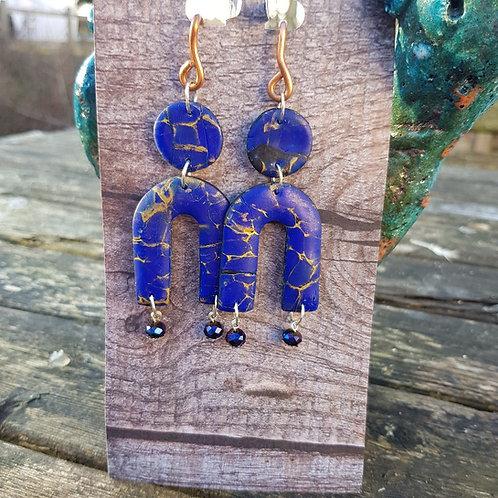Blue Marble Arch Earrings ..