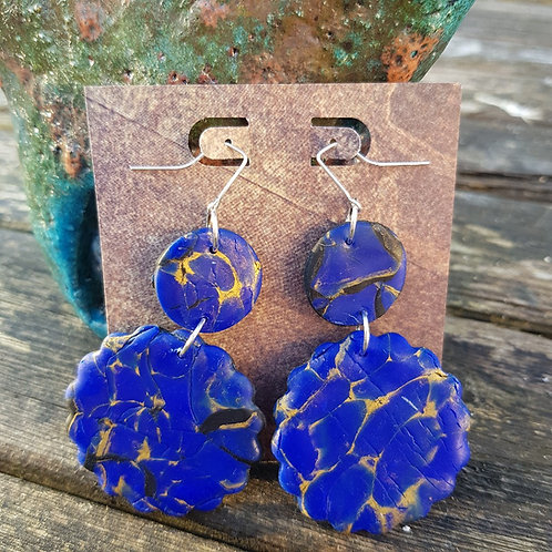Blue Marble Disc Earrings ..