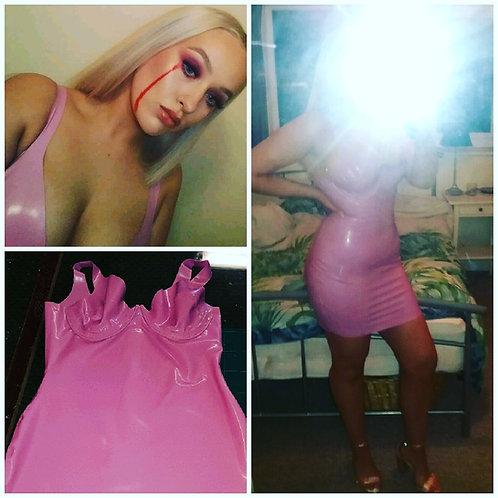 UK size 10-12 - Plus Size Latex *Amber* Bra Wiggle Dress .. AW2018